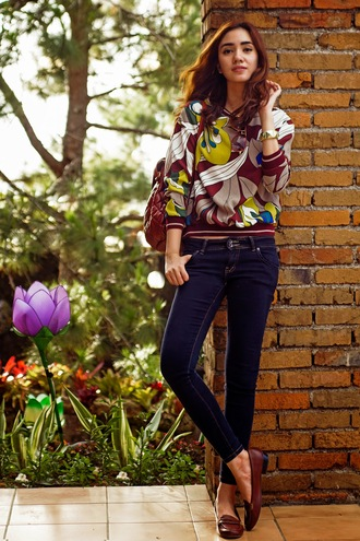 brewing happiness blogger sweater preppy loafers jeans shoes jewels