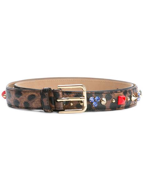 embellished belt print brown leopard print