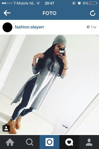 top grey grey top long top fashion grey t-shirt long tops timberland boots shoes slit style t-shirt dress long sleeves long sleeve shirt hat