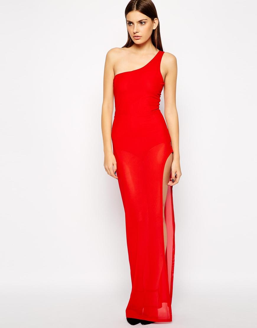 AQ Vivo Mesh One Shoulder Maxi Dress at asos.com