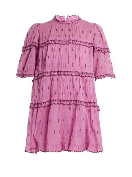 Isabel Marant etoile dress mini dress mini ruffle cotton purple