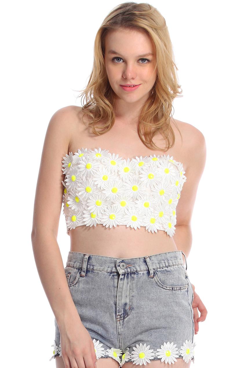 ROMWE   ROMWE Daisy Embellished White Bandeau, The Latest Street Fashion