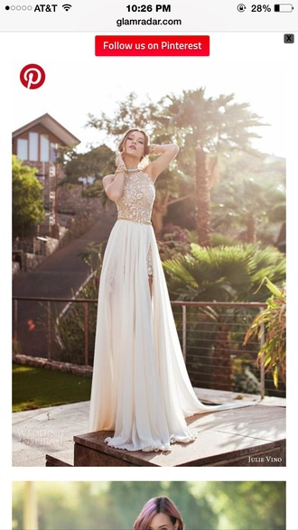 dress prom white long lace gold slit