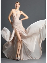 Buy Fascinating Pearl Pink Sweetheart Neckline Sweep Train Chiffon Prom Dress  under 200-SinoAnt.com