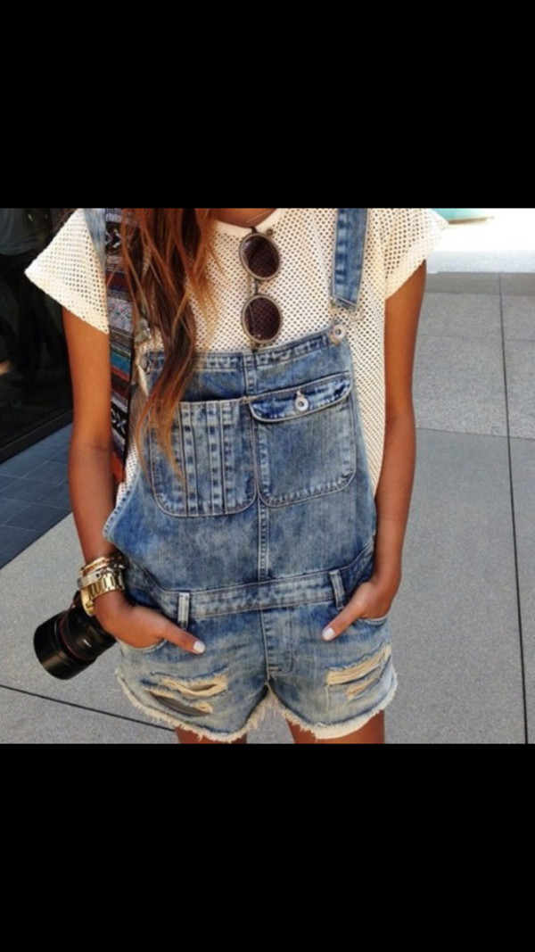 t-shirt white t-shirt shorts pants overalls shirt romper denim overalls