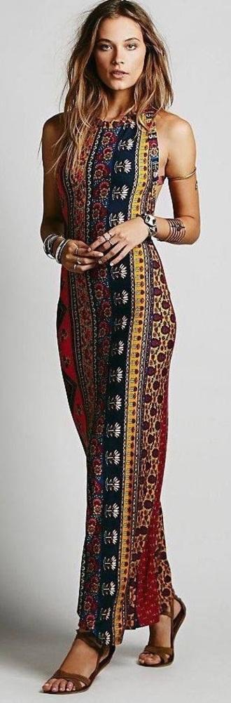 dress boho dress aztec dress floor length dress strappy dress summer summer dress prom tribal dress gold arm bands halter neck figure flattering pattern flowers prom dress