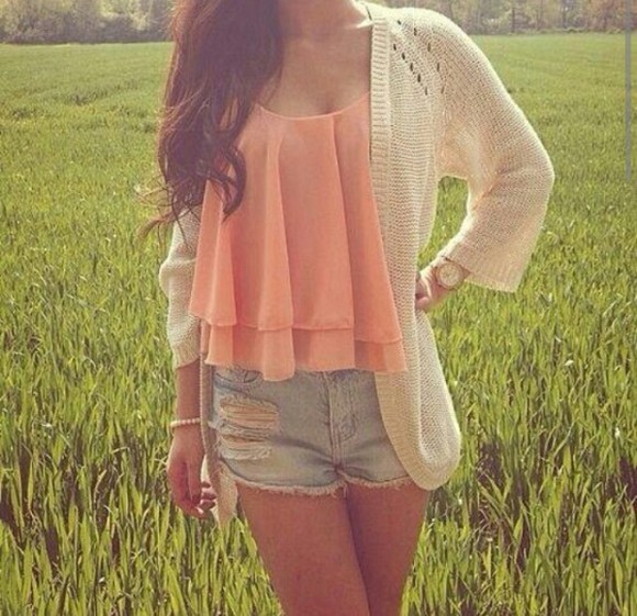 floaty top peach coral orange