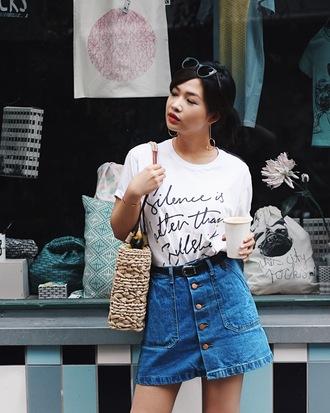 t-shirt tumblr quote on it white t-shirt skirt mini skirt denim denim skirt bag woven bag