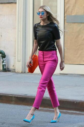 pants top pink pants pink pumps gigi hadid sunglasses shoes bag purse