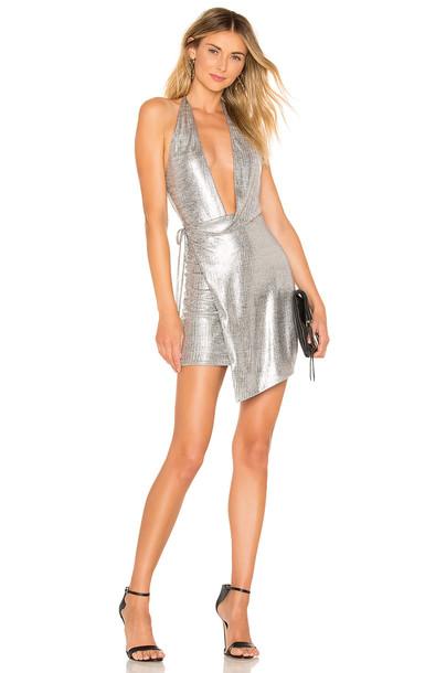 h:ours Omari Dress in metallic / silver