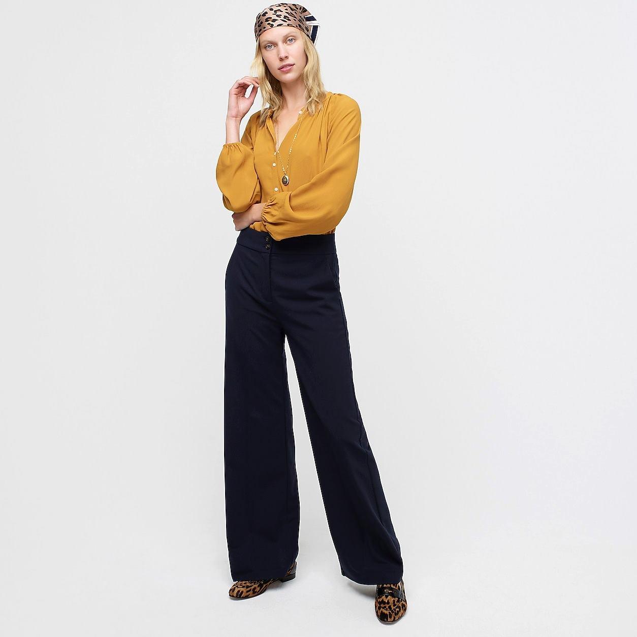 Long-Sleeve Drapey Popover Top