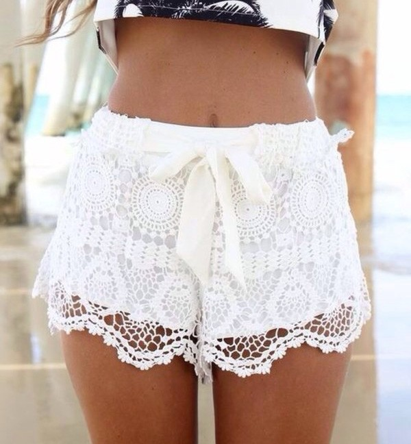 Self Tie Beach Lace Shorts