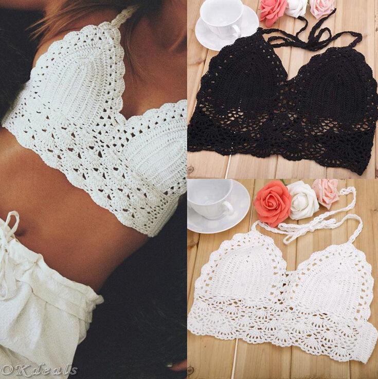 f2dc35c3671d6 Women Crochet Lace Bralette Knit Bra Boho Beach Bikini Halter Cami ...