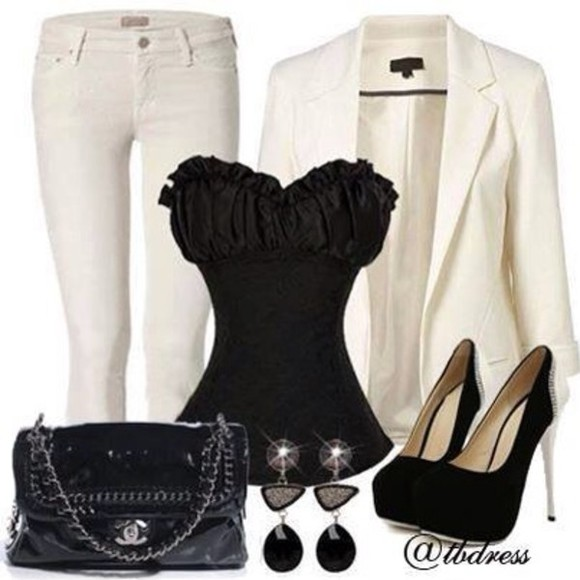 white blazer shirt black t-shirt strapless top strapless shirt white blouse white pants