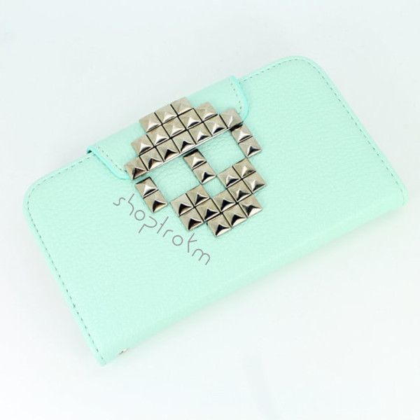 bag mint wallet phone wallet phone cover pastel punk edgy skull silver studs studded wallet phone case