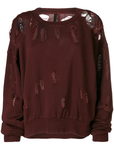 Unravel Project - distressed sweatshirt - women - Cotton - S, Pink/Purple, Cotton