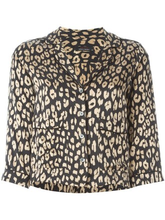 blouse print leopard print black top