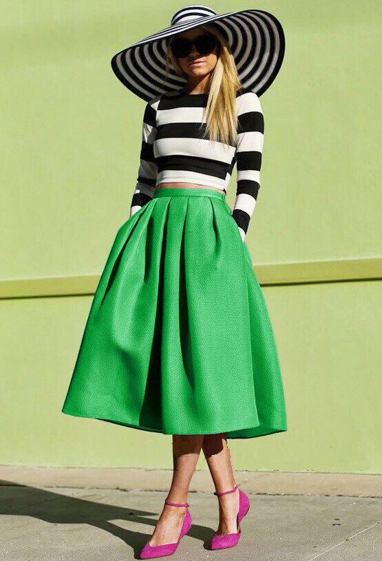 Flare Pleated Midi Skirt - Sheinside.com