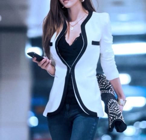 Neck contrast trim blazer in white