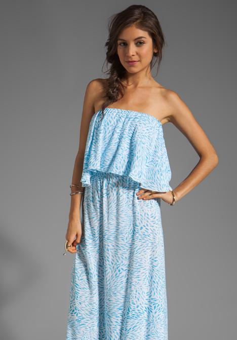 Havi Strapless Tiered Maxi Dress in Padi Turquoise at Revolve ...