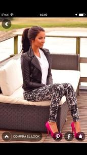 shoes,stilettos,dress,pants,printed leggings,coat,jacket,leggings,black and white,high heels