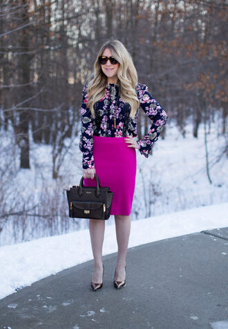 mixmatchfashion themix blogger top skirt bag shoes sunglasses pencil skirt floral top pumps handbag high heel pumps