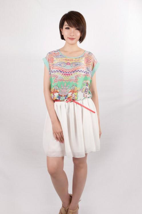 Chiffon Double Layered Skater Skirt (White) | THIS SEASON