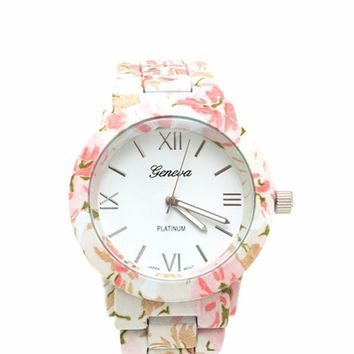 Floral Print Matte Boyfriend Watch on Wanelo