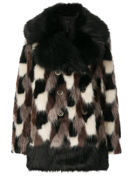 Marc Jacobs coat faux fur coat fur coat fur faux fur women black silk