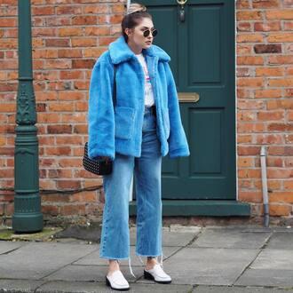 jacket tumblr blue jacket fur jacket faux fur jacket denim jeans blue jeans shoes white shoes mules sunglasses bag black bag cropped jeans