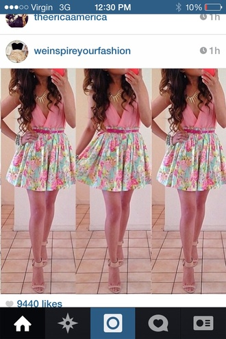 skirt pastel pretty pink blouse shoes floral all