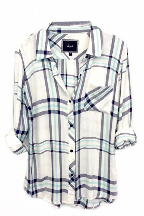 Rails Hunter Plaid Shirt in White/Navy/Mint