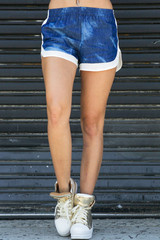 Athletic Inspired Denim Shorts with Mesh Trim