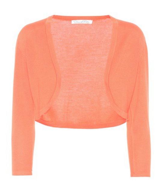 oscar de la renta cardigan cardigan silk pink sweater