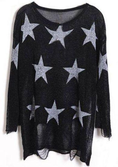 Black Star Print Long Sleeve Ripped Distressed Jumper - Sheinside.com