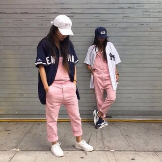 jumpsuit hat pink fashion overalls