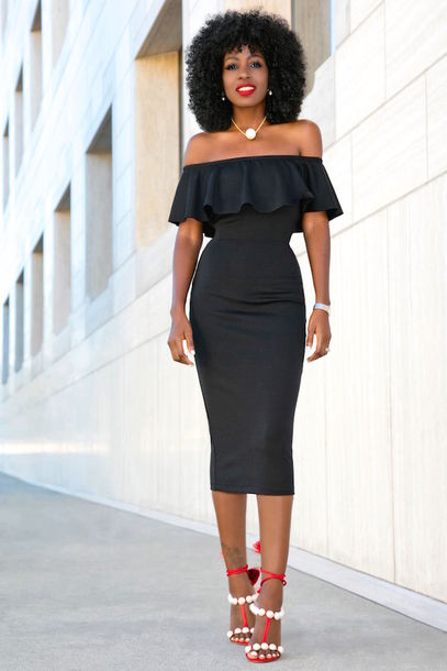 Dress: blogger, shoes, off the shoulder, black dress, red heels ...