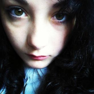 blouse black hair green eyes white blouse