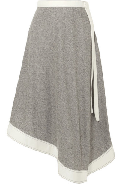 Loewe - Asymmetric Linen And Ramie-blend Midi Skirt - Stone