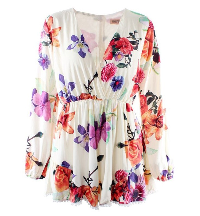 Deep V Floral Playsuits - All