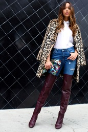 ring my bell,blogger,shoes,thigh high boots,leopard print,winter outfits,white shirt,pouch,ripped jeans,jeans,shirt,bag,coat,printed pouch,over the knee boots,high heels boots,brown boots,printed coat,fur leopard print winter coat,printed fur coat
