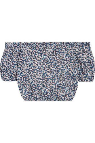 top cropped floral cotton print blue