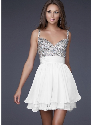 Buy Feminie A-line Spaghetti Straps Mini Chiffon Prom Dress under 200-SinoAnt.com