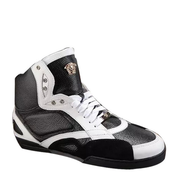 shoes versace black leather high_top sneakers