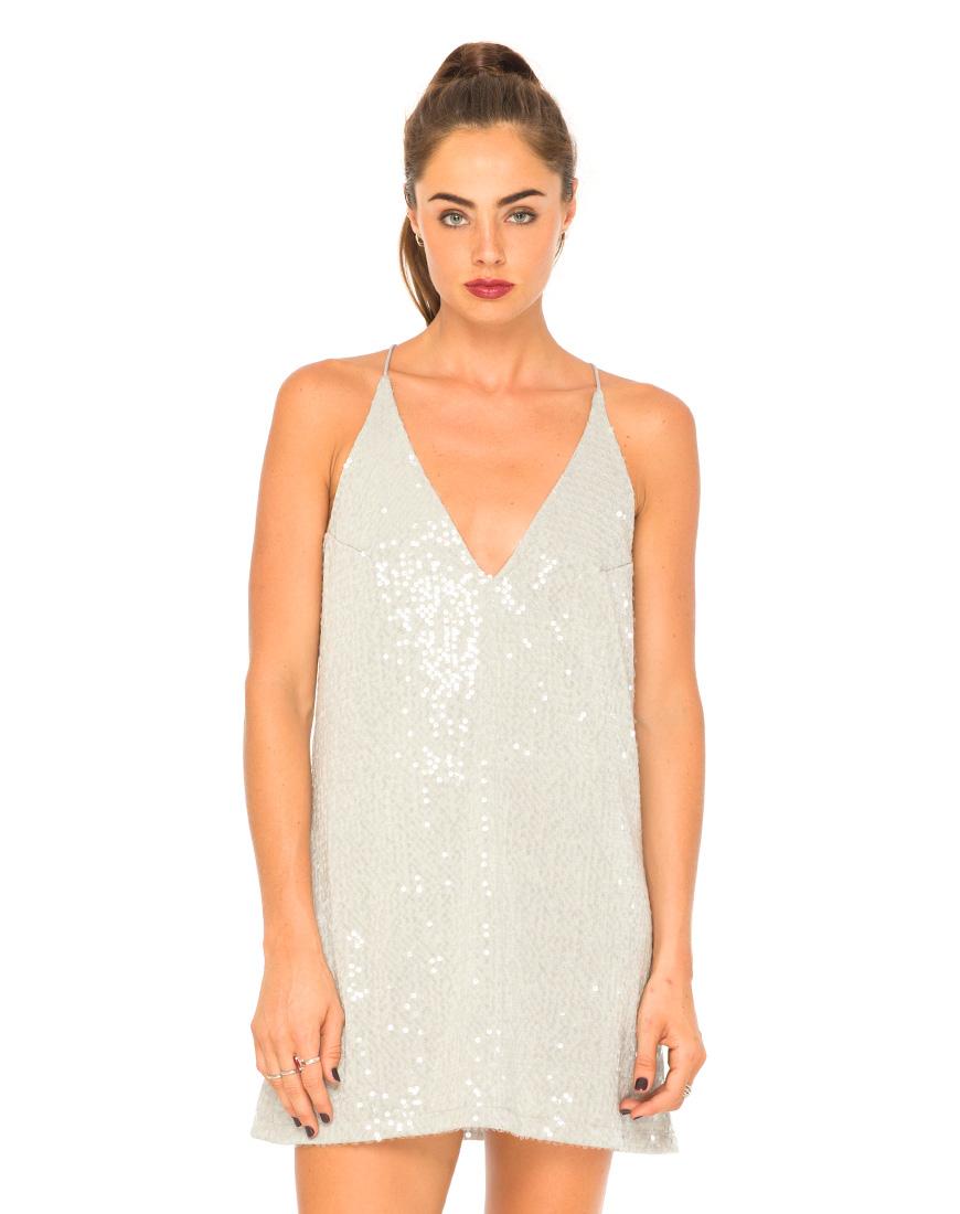 Aurora Sequin Slip Dress in Grey