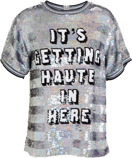Ashish Gray Its Getting Haute in Here Sequin Tshirt