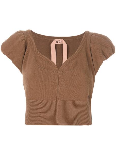 top women wool knit brown