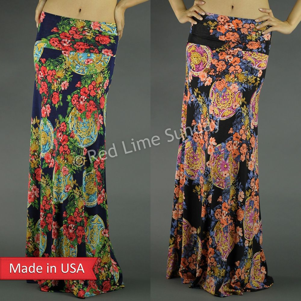 New black navy floral flower goth muti color print fold over long maxi skirt usa