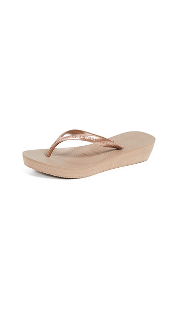 Havaianas High Light Wedge Flip Flops in gold / rose