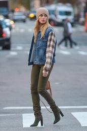 hat,beanie,boots,khaki,khaki pants,jacket,fall outfits,hailey baldwin,streetstyle,model off-duty